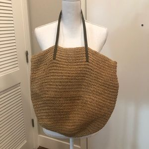 Jcrew straw tote bag one size brown